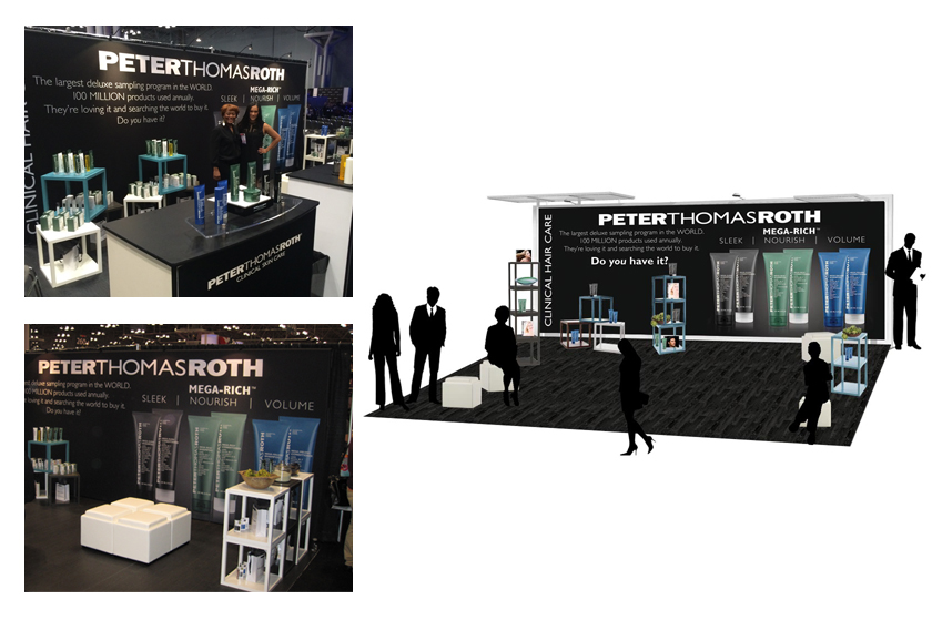 PTR hair products trade show booth design