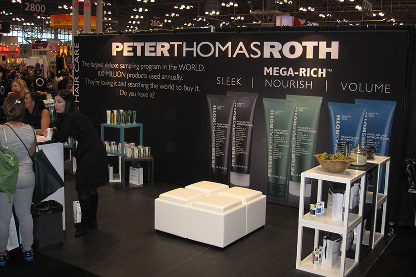PTR hair products trade show booth