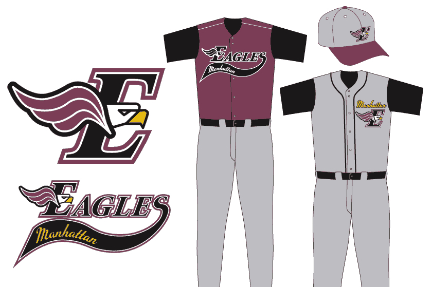 Manhattan Eagles logo and baseball uniform